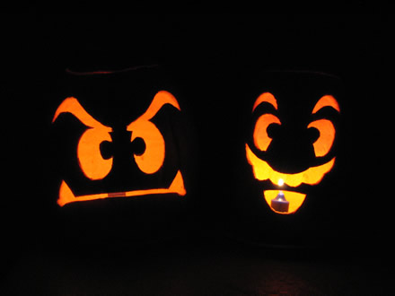 Super Mario and Goomba Pumpkins - In the Dark