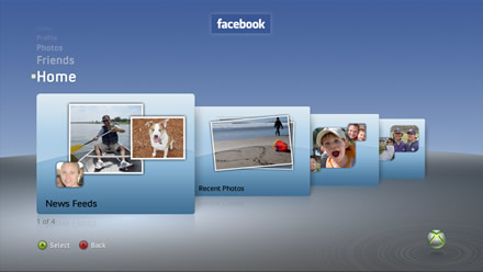 Facebook on Xbox 360 - Home