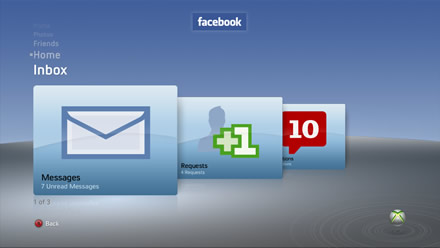 Facebook on Xbox 360 - Inbox
