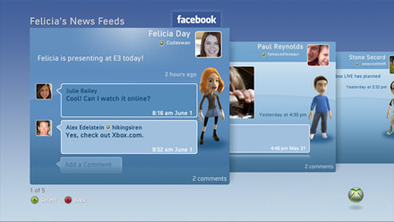Facebook on Xbox 360 - News Feeds